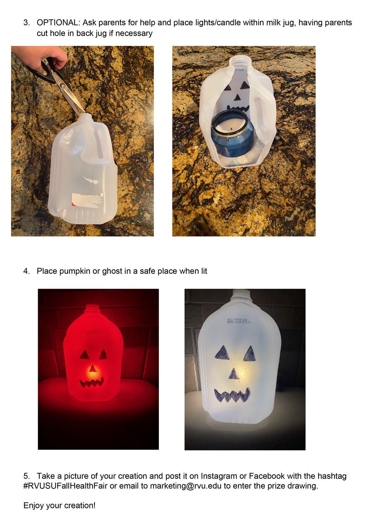 Milk Jug Pumpkins and Ghosts-2