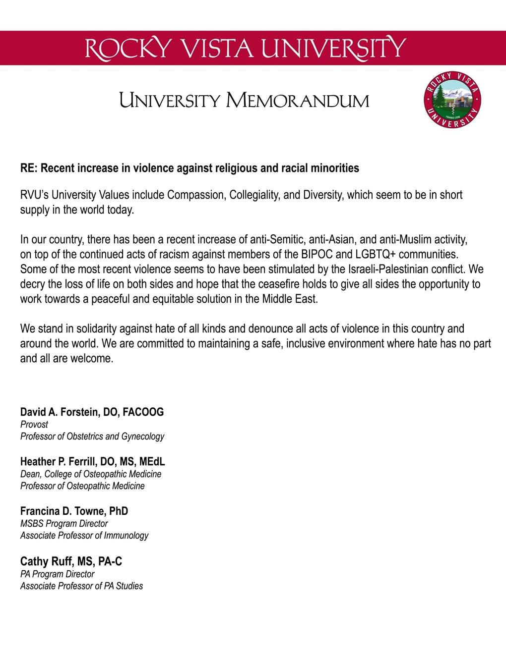 RVU - Recent increase in violence against religious and racial minorities